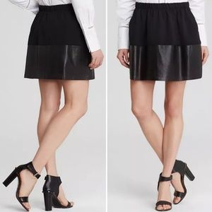Vince Black Leather Trimmed Miniskirt, Sz M